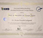 Certificado de especialista Cirurgia Plástica - Dr. Bruno Luitgards